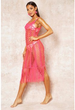 Womens Neon-coral Crochet Fringed Beach Dress