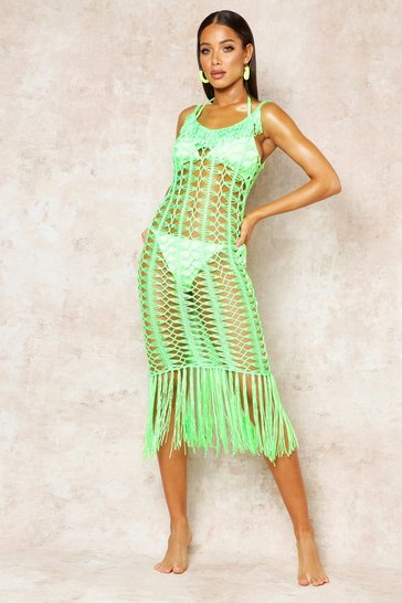 Womens Neon-green Crochet Fringed Beach Dress