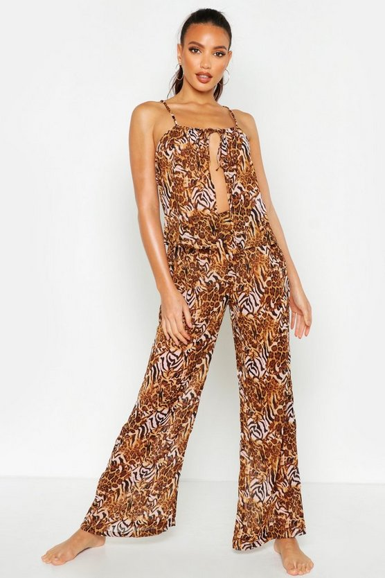 Pink Mixed Animal Print Trouser Beach Co-Ord