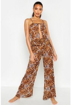 Womens Pink Mixed Animal Print Trouser Beach Co-Ord