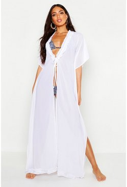 Womens White Ruffle Maxi Beach Kaftan