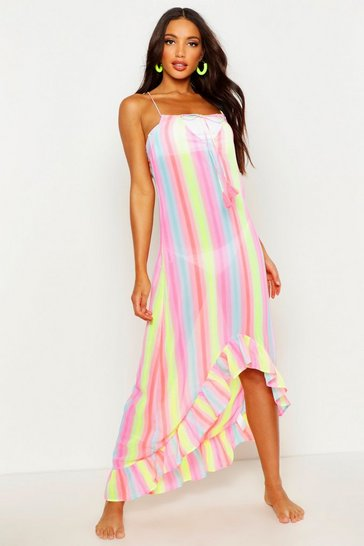 Womens Multi Rainbow Stripe Eclipse Hem Maxi Dress