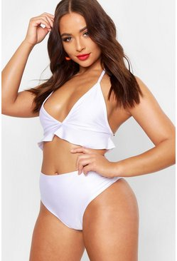 Womens White Ruffle High Waisted Bikini Set