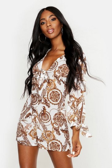 Womens White Chain Print Knot Front Beach Playsuit