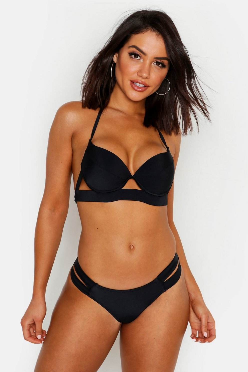 5eb78aa5a9e6f Push Up Strappy Underwired Bikini | Boohoo