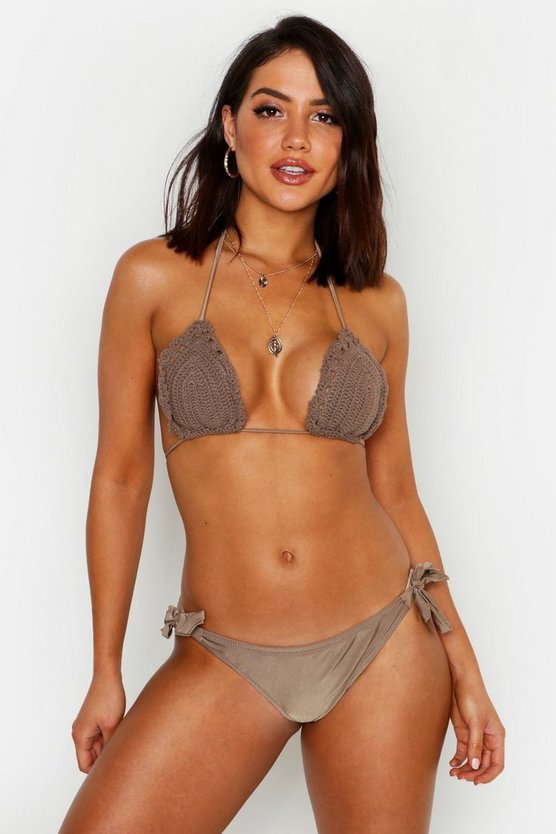 Womens Beige Crochet Triangle & Tie Side Bikini