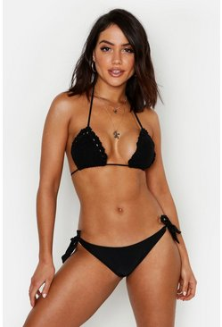 Womens Black Crochet Triangle & Tie Side Bikini