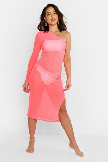 Womens Neon-pink Mesh Asymmetric Beach Dress