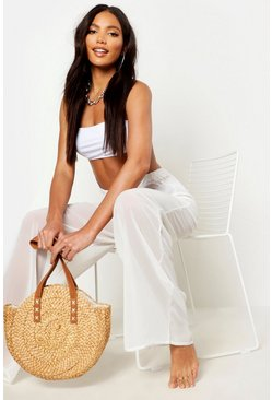 Womens White Wide Leg Beach Trousers