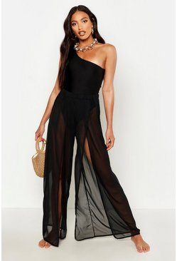 Black Split Leg Beach Trousers