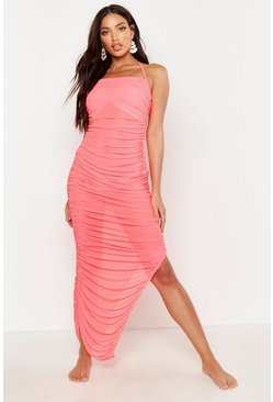 Womens Neon-pink Rouched Mesh Midaxi Beach Dress