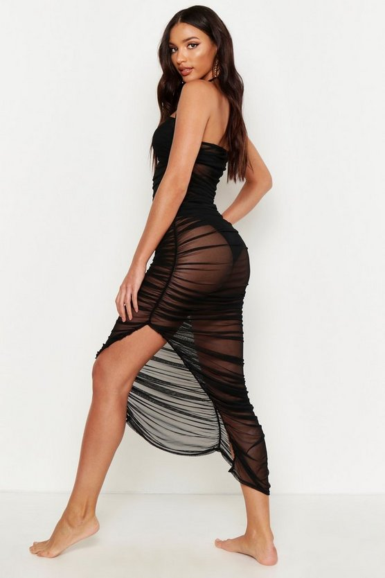 Rouched Mesh Midaxi Beach Dress