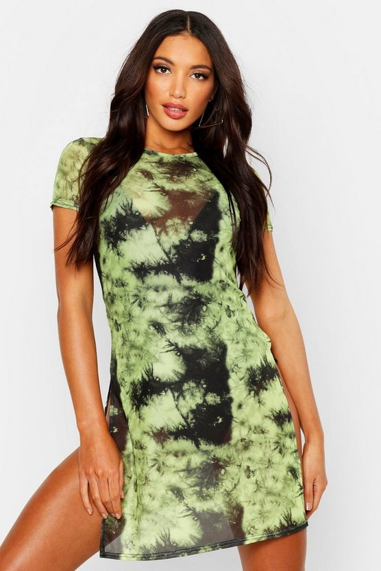 Womens Neon-green Tie Dye Mesh Split Beach Dress