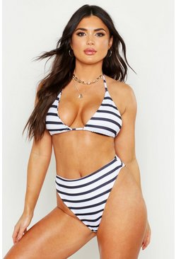 Womens White Nautical Stripe Triangle High Waisted Bikini