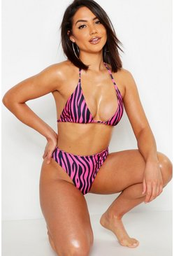 Womens Pink Zebra High Waist Triangle Bikini Set