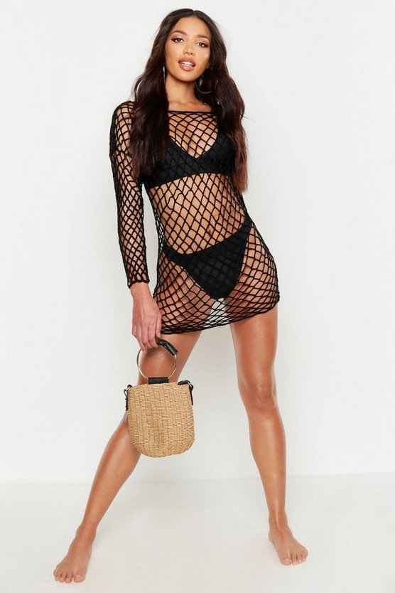 Womens Black Oversized Off The Shoulder Beach Cover Up