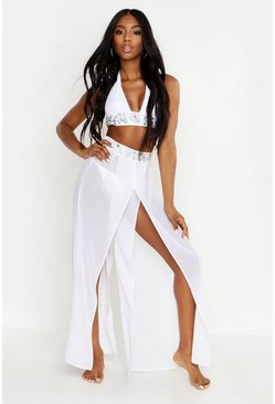 Womens White Premium Jewelled Beach Trousers