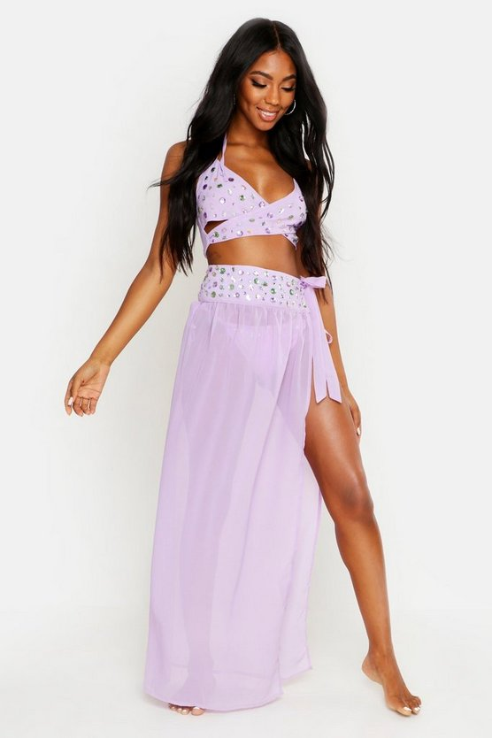 Womens Lilac Premium Jewelled Maxi Beach Sarong