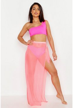 Womens Pink Neon Mesh Beach Skirt