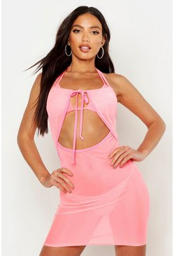 Womens Pink Neon Mesh Beach Dress