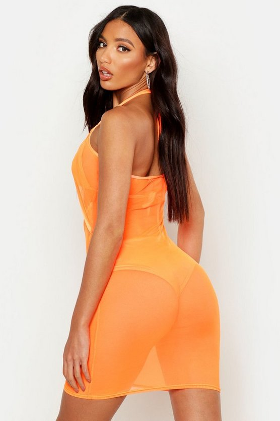Neon Mesh Beach Dress