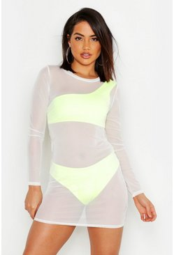 Womens White Mesh Long Sleeve Beach Cover Up