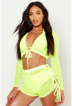Womens Yellow Neon Mesh Beach Co-ord Set
