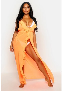 Womens Coral Frill Split Maxi Beach Dress