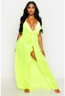 Womens Neon-green Frill Split Maxi Beach Dress