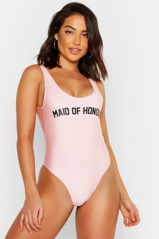 Womens Pink Maid Of Honour Hen Swimsuit