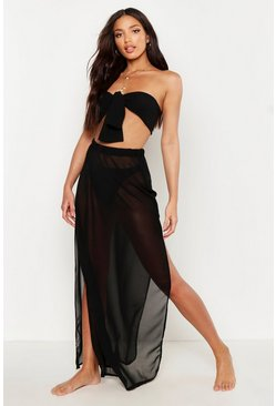 Womens Black Bandeau & Skirt Beach Co-Ord