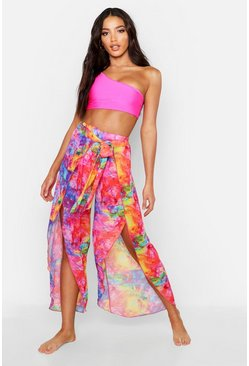 Womens Multi Rainbow Tie Dye Beach Trousers