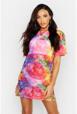 Womens Multi Rainbow Tie Dye Mesh Beach Dress