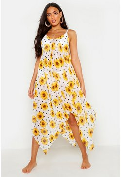 Womens White Sunflower Spot Hanky Hem Beach Dress