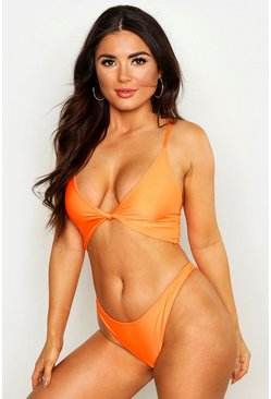 Womens Neon-orange Neon Knot Front High Leg Bikini