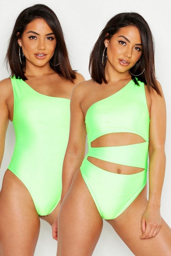 Womens Neon-green 2 Way Wear Swimsuit