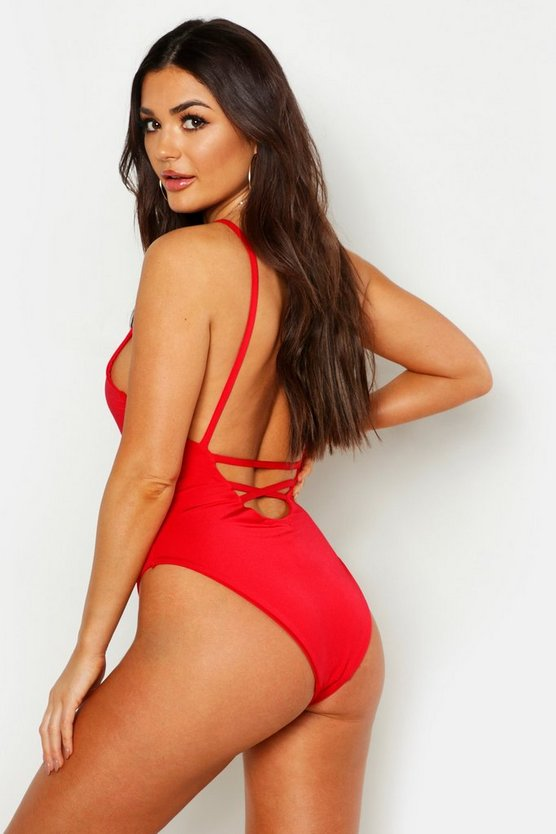 Red Low Lace Up Back Swimsuit