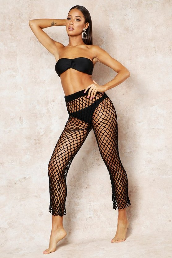 Womens Black Net String Beach Trouser