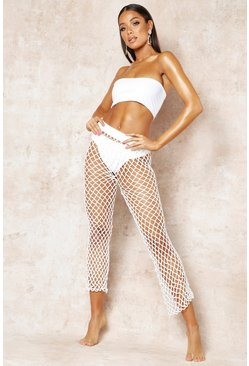 Womens White Net String Beach Trouser