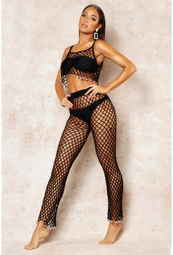Womens Black String Net Pants Beach Co-Ord