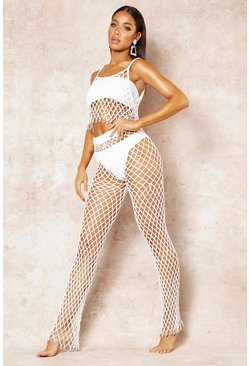 Womens White String Net Trouser Beach Co-Ord