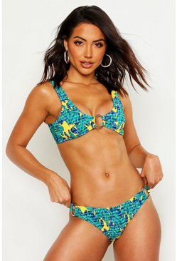 Womens Blue Palm Ring Detail Smocked Crop Bikini