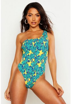 Blue Palm One Shoulder Asymmetric Smocked Swimsuit