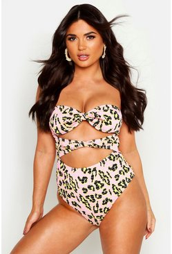 Womens Pink Neon Leopard Smocked Knot Detail Swimsuit