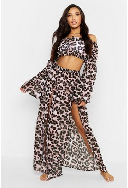 Womens Brown Leopard Flare Sleeve Bardot Beach Co-Ord