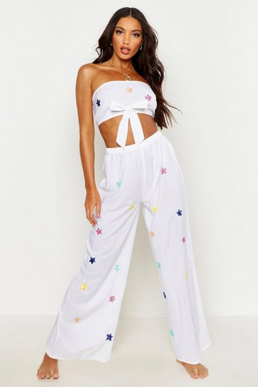 Womens White Sequin Star Beach Co-Ord