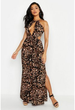 Womens Brown Leopard Cut Out Maxi Beach Dress