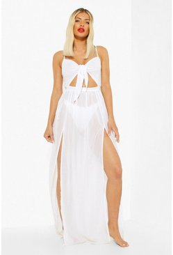 Womens White Tie Front Cut Out Beach Maxi Dress
