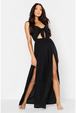 Womens Black Tie Front Cut Out Beach Maxi Dress