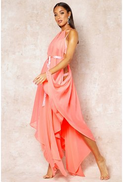 Womens Coral Showstopping Beach Cover Up